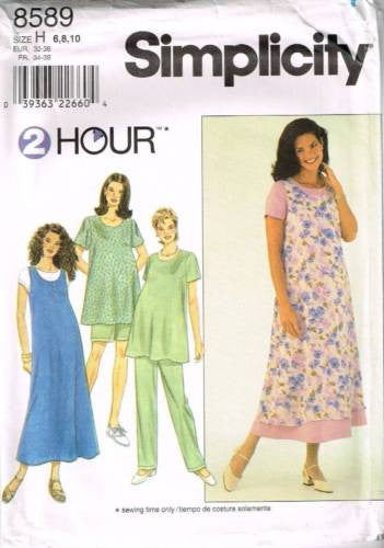 8589 Sewing Pattern Maternity Dress Jumper Top Pants Shorts 6 8 10