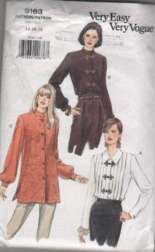 9163 Sewing Pattern Vintage Vogue Ladies Blouse Tunic Top 14 16 18