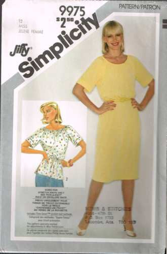 9975 Sewing Pattern Vintage Ladies Raglan Sleeve Gathered Neckline 12