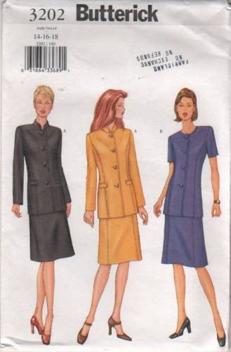 *3202 Sewing Pattern Butterick Ladies Jacket and Skirt 14 16 18