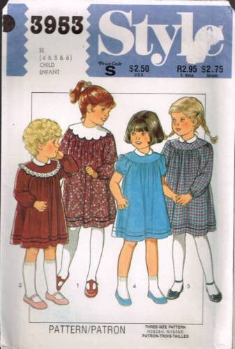 3953 Sewing Pattern Grs Cute Dress with Collar and Yoke Variations 4 5 6