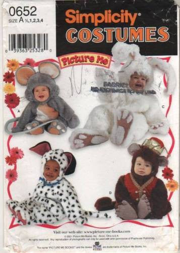 *0652 / 9821 Sew Pattern Costume Baby Toddler Bunny Mouse Dog Monkey 1/2-1-2-3-4