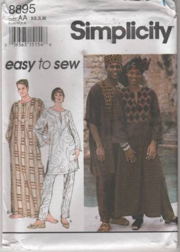 8895 Sewing Pattern Unisex Tribal Robe Tunic Top Pants Hat XS S M