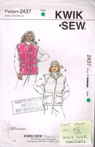 K2437 Sewing Pattern Kwik Sew Ladies Puffy Vest CUT OUT only size XS available