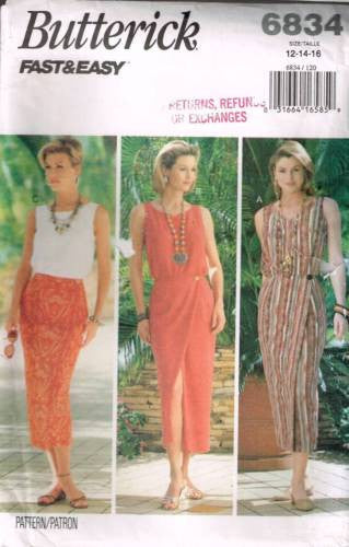 6834 Sewing Pattern Butterick Ladies Wrap Skirt Camisole Top 12 14 16