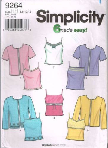 9264 Sewing Pattern Ladies Twin Sets Camisole & Jacket 6 8 10 12