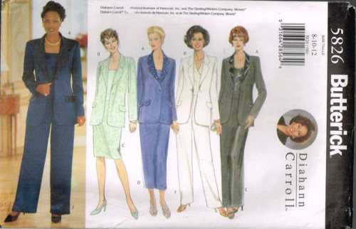 5826 Sewing Pattern Butterick Ladies Long Jacket Skirt Pants by Diahann  8 10 12