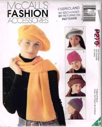 *0270 / 9551 Sewing Pattern Touque  Beret Scarf Purse Tote +