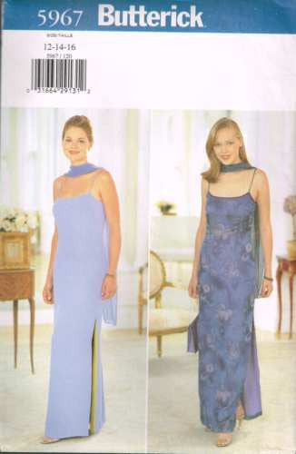 5967 Sewing Pattern Butterick Evening Gown Wedding Bridal Dress 12 14 16
