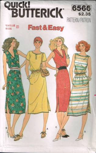 6566 Sewing Pattern Butterick Ladies Fast & Easy Dress 10 12 14