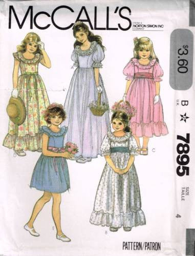 7895 Sewing Pattern Girls Fay Wedding Bridal Ruffle @ Neck Dress 4