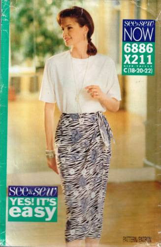 6886 Sewing Pattern Butterick Ladies Top and Wrap Skirt 18 20 22