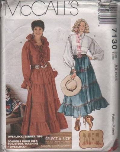 7130 Sewing Pattern Vintage McCall's Ladies Layered Skirt Western Blouse 4 6 8