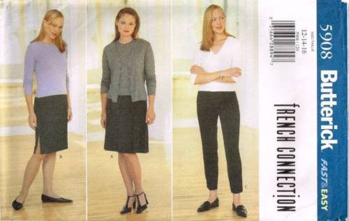 "5908 Sewing Pattern Ladies ""French Connection"" Pants Pleated Skirt 12 14 16"