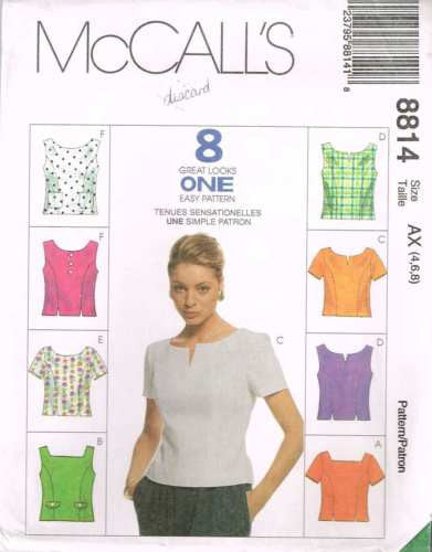 8814 Sewing Pattern McCall's Ladies Blouse 4 6 8