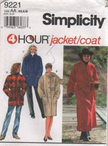 9221 Sewing Pattern Ladies 4 Hour Jacket Coat XS S M
