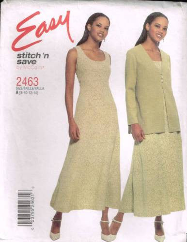 *2463 Sewing Pattern McCall's Dress and Jacket 8 10 12 14