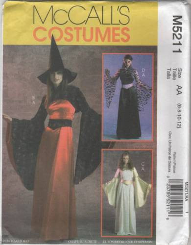 5211 Sewing Pattern Ladies Costume Witch Angel Gothic 6 8 10 12