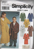 9941 Sewing Pattern Kids Shawl Collar Robe with or without Hood 7 8 10