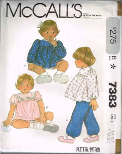 7383 Sewing Pattern Vintage McCall's Girls Dress Top Pants Large