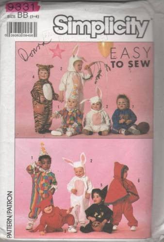 9331 Sewing Pattern Vintage Kids Costume Bunny Clown Tiger Witch Devil 1 2 3 4