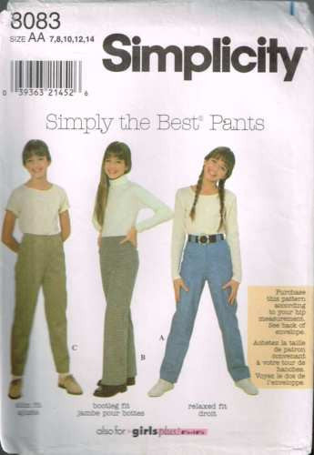 8083 Sewing Pattern Girls Pants in Various Fits 7 8 10 12 14