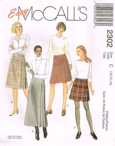 *2302 *Sewing Pattern McCall's Ladies Wrap Pleated Skirt 10 12 14