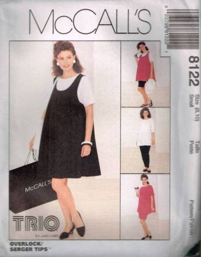 8122 Sewing Pattern McCall's Maternity Tank Top Dress Pants Shorts Skirt Sm 8-10
