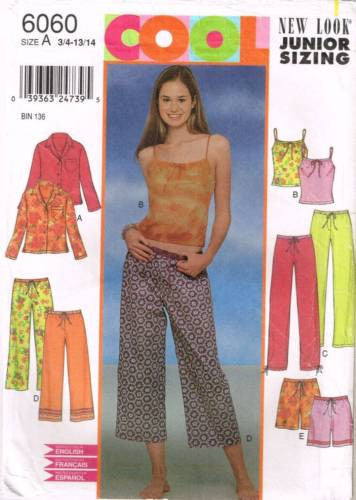 6060 Sewing Pattern Junior Teens Ladies Pajamas Camisole 3/4 5/6 7/8 9/10 11/12