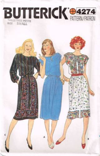 4274 Sewing Pattern Vintage Butterick Ladies Dress S (8-10)