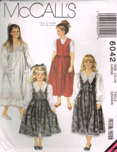 6042 Sewing Pattern Vintage McCall's Girls Dress & Jumper or Nightgown 12-14