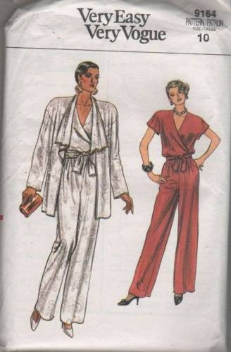 9163 Sewing Pattern Vintage Vogue Ladies Top Pants Jacket 10