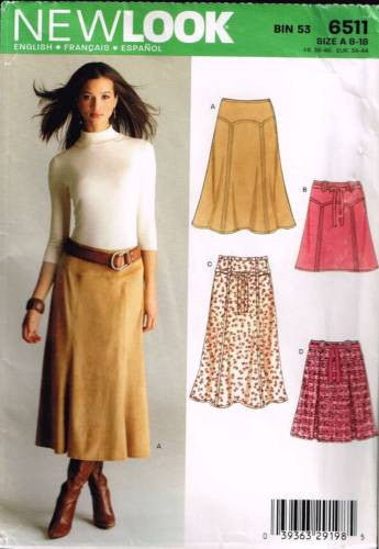 6511 Sewing Pattern New Look Ladies Skirt Skirts 8 10 12 14 16 18