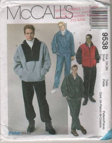 9538 Sewing Pattern McCall's Mens Color Blocked Jacket and Pants 34-36