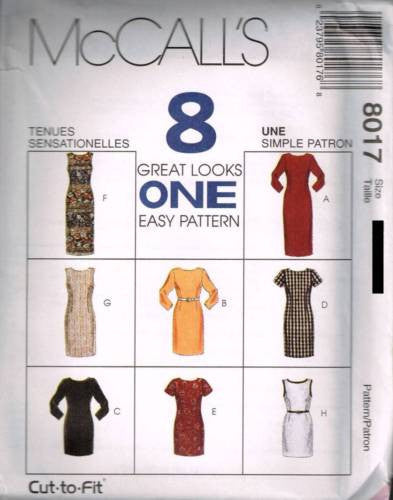 8017 Sewing Pattern McCall's Ladies Fitted Dress Front & Back Darts 8 10 12