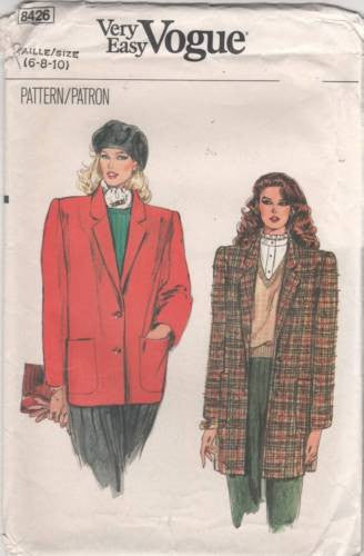 8426 Sewing Pattern Vintage Ladies Blazer Jacket 6 8 10