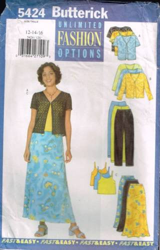 *5424 Sewing Pattern Butterick Ladies Dress Camisole Pants and Jacket 12 14 16