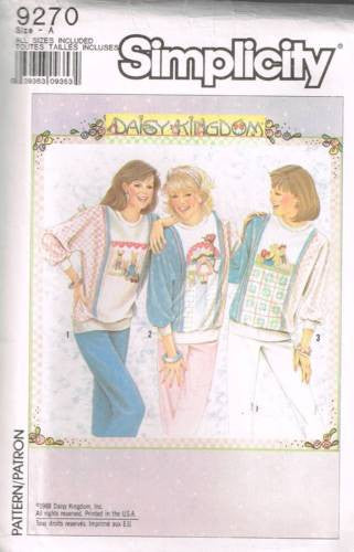 9270 Sew Pattern Vintage Daisy Kingdom Ladies Sweatshirt with Applique Transfers