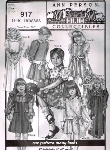 917 Sewing Pattern Girls Dress by Ann Person with Variations Chest 21-31