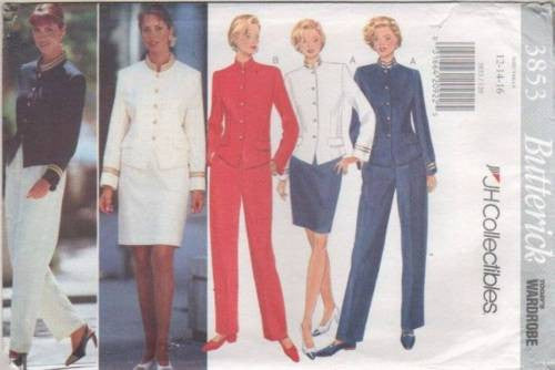 3853 Sewing Pattern Butterick Ladies Military Jacket Pants Skirt 12 14 16