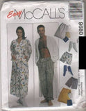 9680 Sewing Pattern McCall's Unisex Pajama Pants Robe Bootees Pouch XL (42-44)