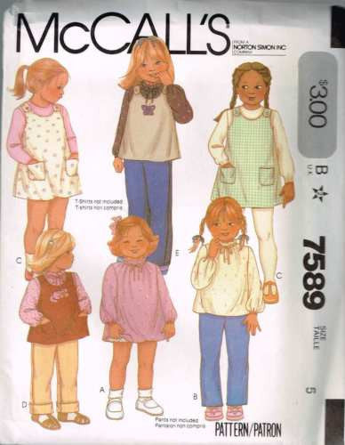 7589 Sewing Pattern Vintage McCall's Girls Dress Jumper Blouse 5