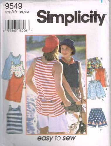 9549 Sewing Pattern Unisex Tank Top and Shorts XS S M