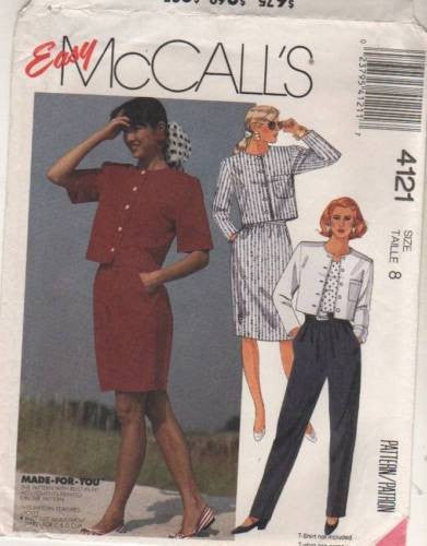 4121 Sewing Pattern McCall's Ladies Jacket Skirt Pants Top 8