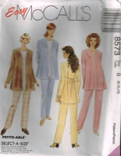 8573 Sewing Pattern McCall's Maternity Jacket Top Pull on Pants 8 10 12
