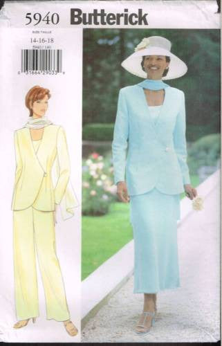*5940 Pattern Butterick Ladies Jacket Skirt Pants 14 16 18