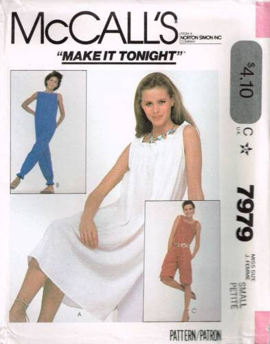 7979 Sew Pattern Vintage McCall's Ladies Jumpsuit Romper or Dress Small (10-12)