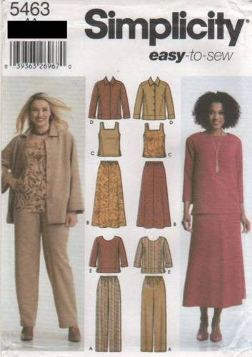 5463 Sew Pattern Ladies Plus Size Tank Top Blouse Top Skirt Pants 10 12 14 16 18