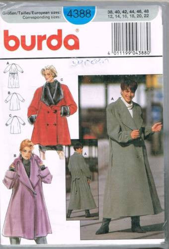 4388 Sewing Pattern Burda Ladies Flared Coat 12 14 16 18 20 22