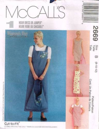 *2669 *Sewing Pattern McCall's Ladies Jumper Dress & Tote Bag 8 10 12
